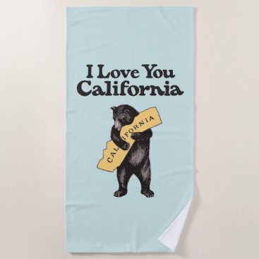 Beach Themed I Love You, California Vintage Illustration Beach Towel