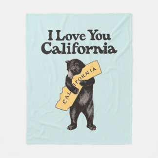 I Love You, California Vintage Illustration Fleece Blanket