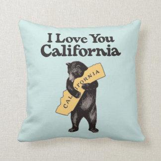 I Love You, California Vintage Illustration Throw Pillow