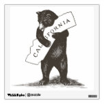 California bear state flag wall cling cutout decal room decal from