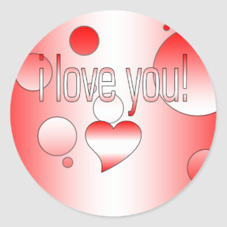 I Love You! Canada Flag Colors Pop Art Classic Round Sticker