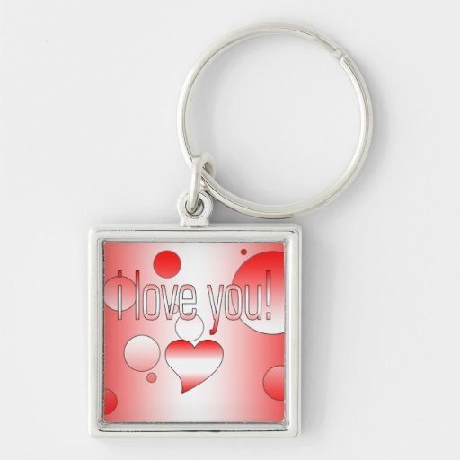 I Love You! Canada Flag Colors Pop Art Silver-Colored Square Keychain