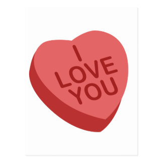 I Love You Candy Heart (Red) Postcard