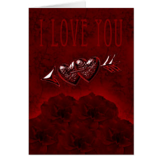 I love you card, with hearts and roses, marble re greeting card