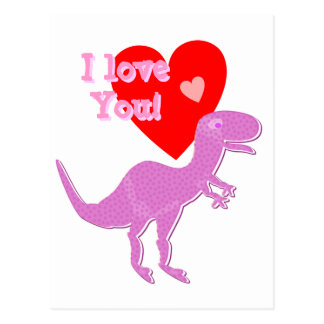 I love You Cartoon Dinosaur T-Rex Postcard