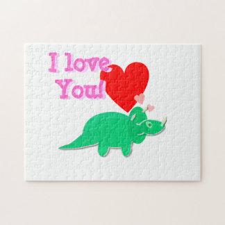 I Love You Cartoon Dinosaur Triceratops Puzzle