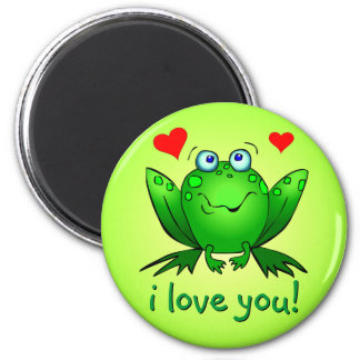 I Love You Cartoon Frog Hearts Cute Smile 2 Inch Round Magnet