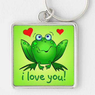 I Love You Cartoon Frog Hearts Cute Smile Keychain