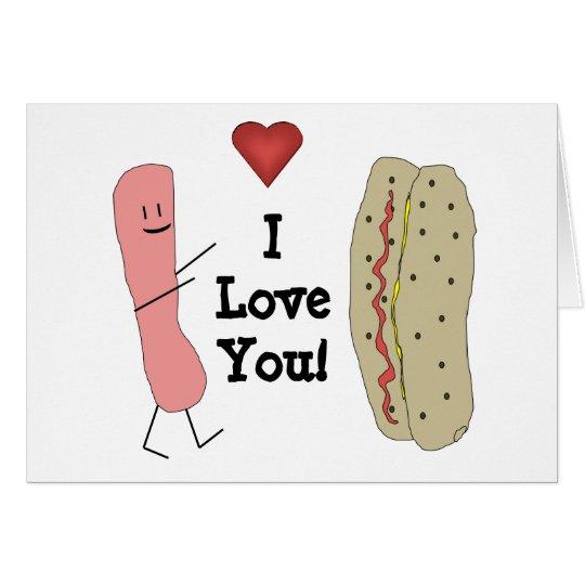 I Love You Cartoon Hotdog & Bun Card