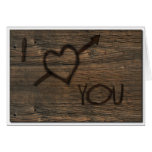 I Love You Carved in Wood Card