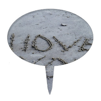 I Love You Carved Into the Sand Cake Topper
