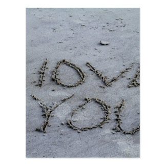 I Love You Carved Into the Sand Postcard
