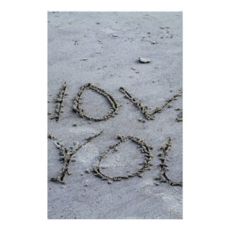 I Love You Carved Into the Sand Stationery