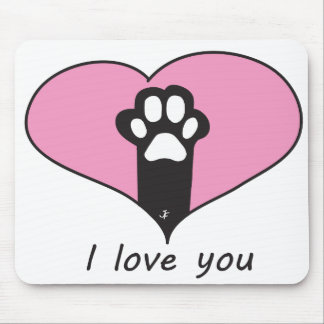 """""""I love you"""" Cat paw Mouse Pad"""