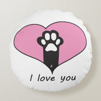 """I love you"" Cat paw Round Pillow"