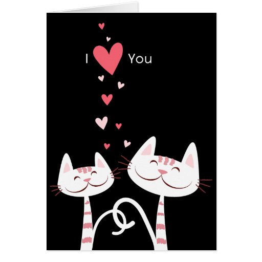 I Love You Cats (black) Valentine Card