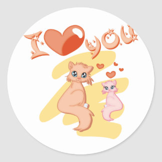 I love you cats - I love you cats Classic Round Sticker