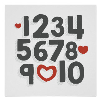 I LOVE YOU (Charcoal & Red) Numbers Poster Print