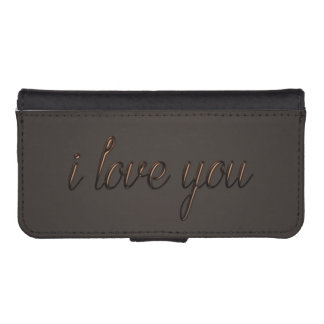 """I love you"" Chocolate Style Wallet Phone Case For iPhone SE/5/5s"