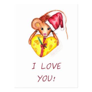 I love you! Christmas Mouse, postcard