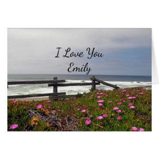 I Love You Custom Ocean Flowers Note Card