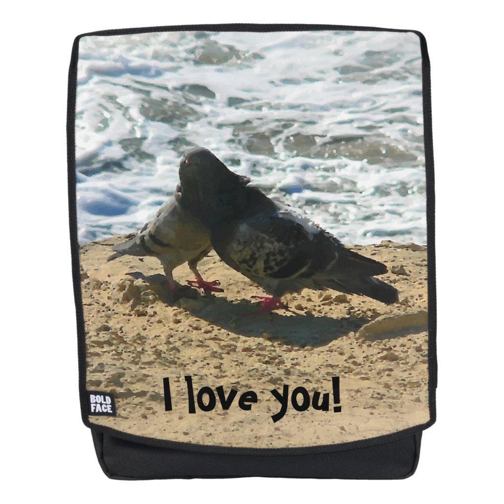 Cute Birds in Love Beach Print Backpack