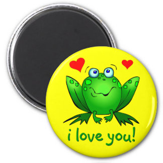I Love You Cute Cartoon Frog Hearts Yellow 2 Inch Round Magnet
