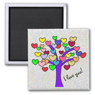 I love you Cute Colorful Love Hearts Purple Tree Magnet