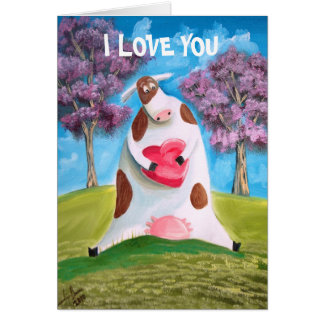 I LOVE YOU CUTE COW HEART CARDS