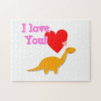I Love You Cute Dinosaur Valentine Puzzle
