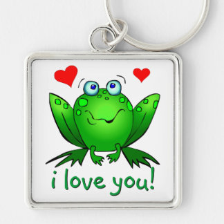 I Love You Cute Frog Hearts Romantic Keychain
