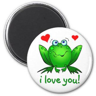 I Love You Cute Green Cartoon Frog White Fridge Magnet