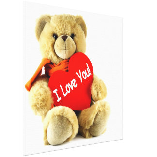I love you cute  lovely teddy bear with red scarf canvas print