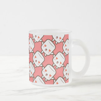 """""""I love YOU!"""" cute marshmallow 10 Oz Frosted Glass Coffee Mug"""