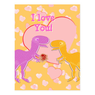 I love You Cute T-Rex Dinosaurs Postcard