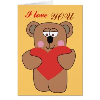 I love You Cute Teddy Bear Valentine Card