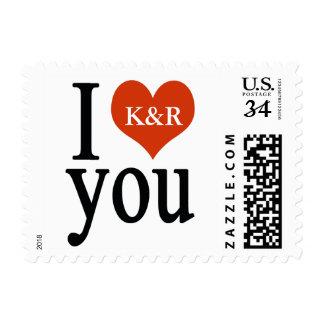 I love you, cute wedding postage