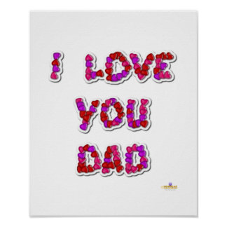I Love You Dad Candy Hearts Poster