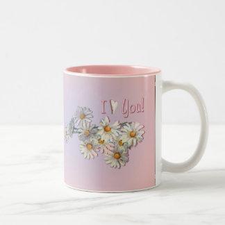 I LOVE YOU DAISIES by SHARON SHARPE Two-Tone Coffee Mug