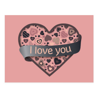 I love you Dark Delight heart with ribbon banner Postcard