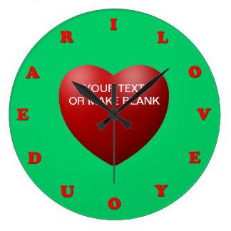 i love you dear large clock