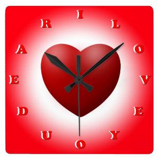 i love you dear square wall clock
