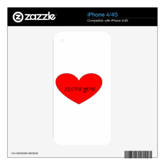 I LOVE YOU DECAL FOR iPhone 4S