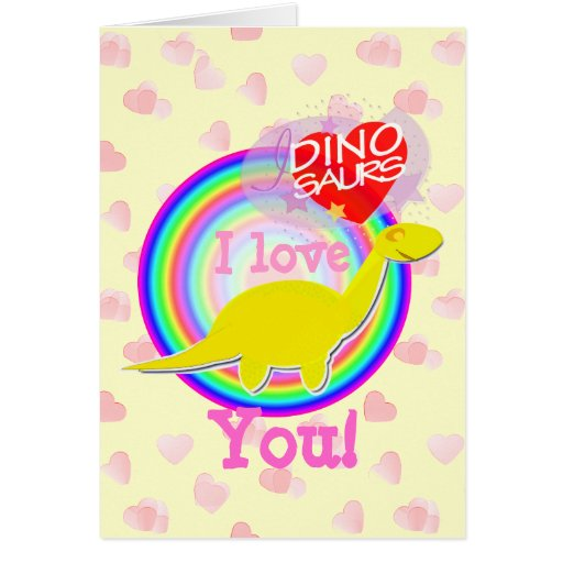 I Love You Dinosaur Card with Pink Hearts