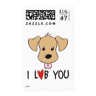 I Love You - Dog Labrador Theme Postage Stamp
