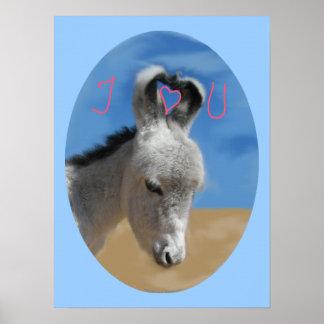 I Love You Donkey Poster