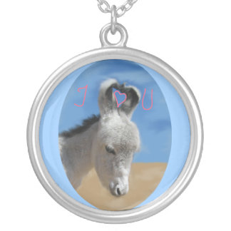 I Love You Donkey Silver Plated Necklace