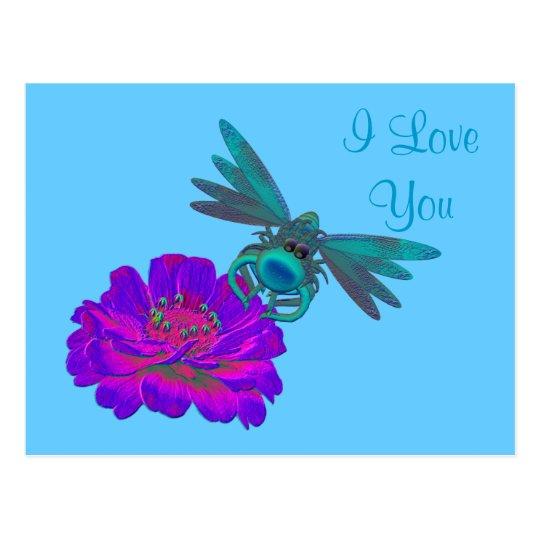 I Love You Dragonfly Zinnia Flower Postcard
