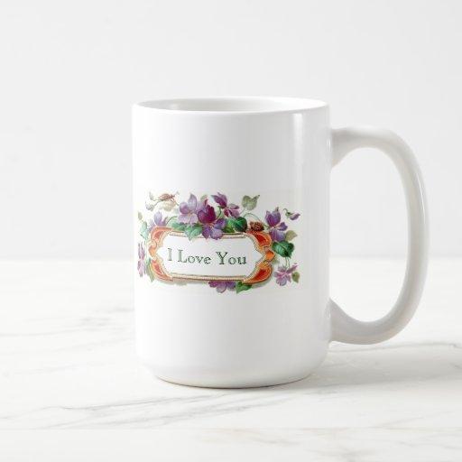 I Love You Elegant Colorful Vintage Violet Mug