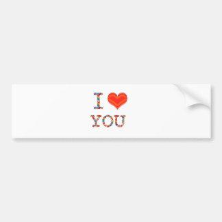 I LOVE YOU : Elegant Script of Love n Romance GIFT Bumper Stickers